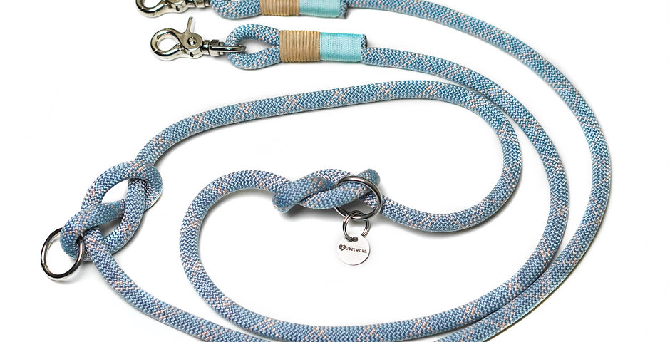 Leine 2-fach verstellbar - Pastell Blau