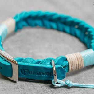 Fettleder Türkis, Takelung: Leder Natur & Standard Babyblau