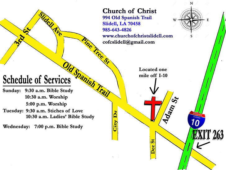 Church of Christ Slidell LA location directions