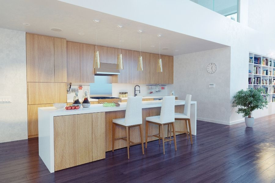 minimalist kitchen natural wood grain loft