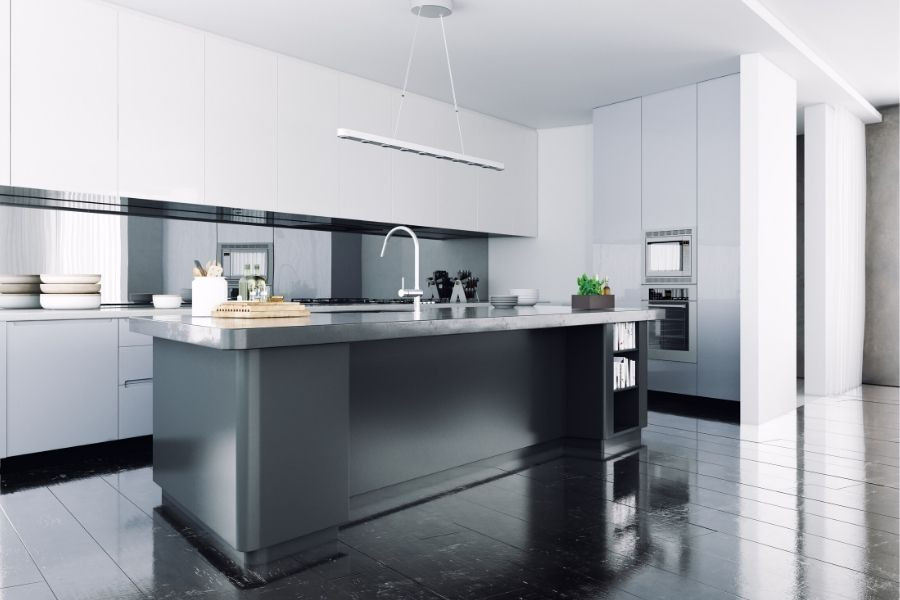 minimalist kitchen in black and white modern look