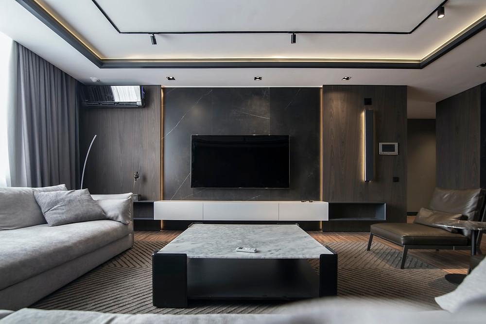 modern minimalist grey living room