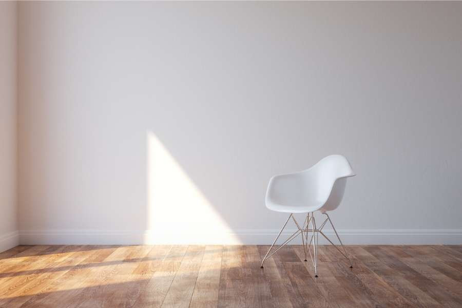 essential minimalist room white chair