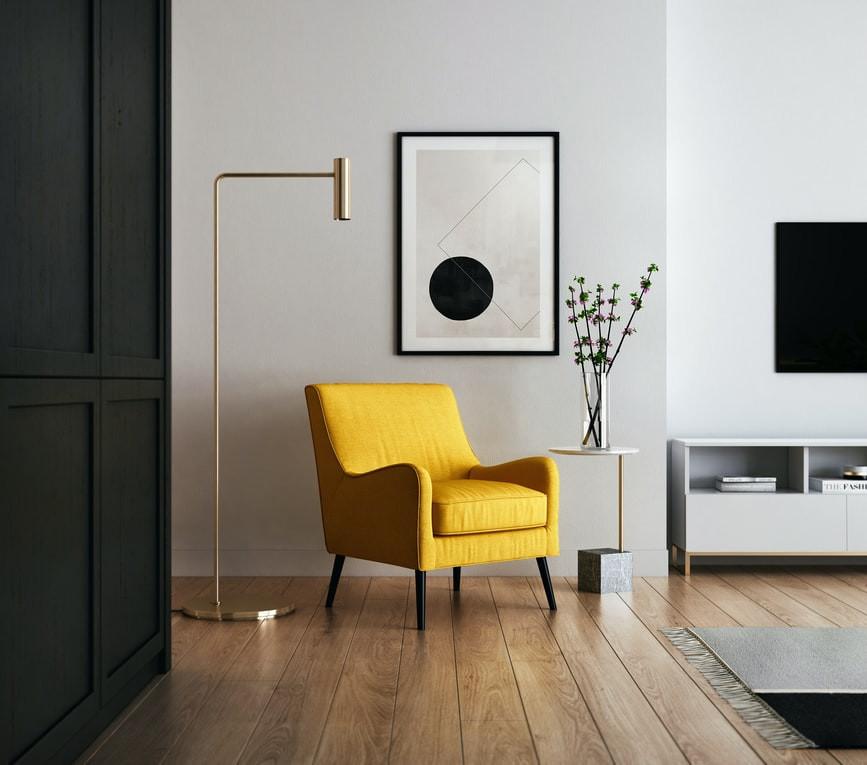 minimalist japandi living room in black and yellow