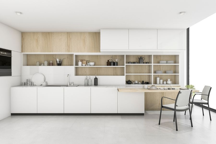 minimalist kitchen in white and natural wood with table