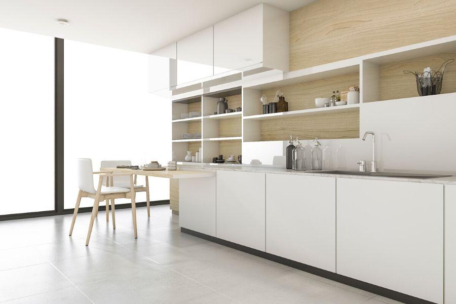 minimalist kitchen white natural wood finish scandinavian