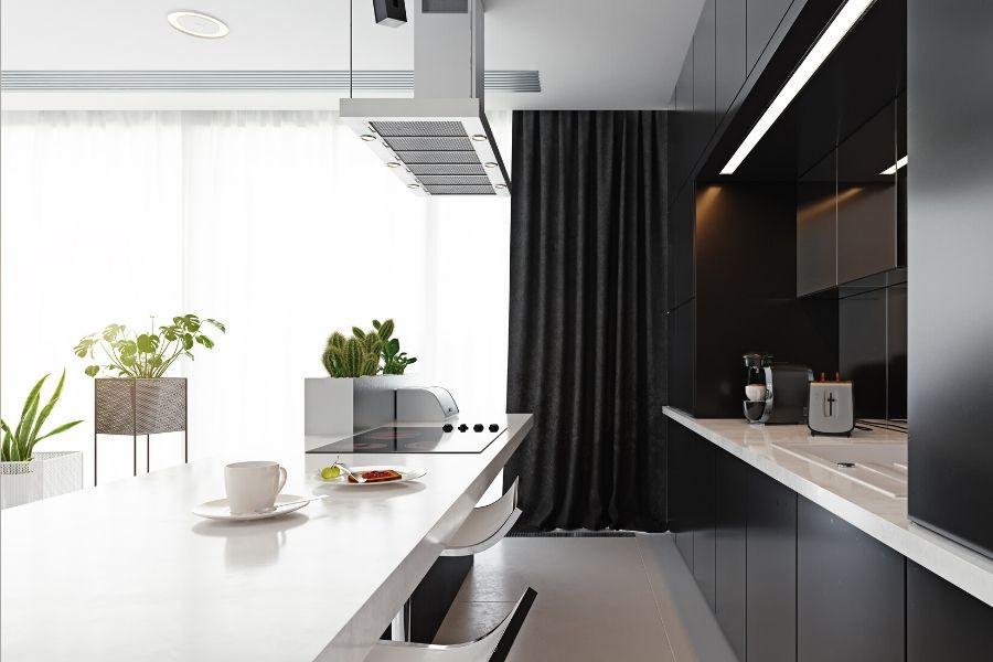 fancy minimalist kitchen white and black