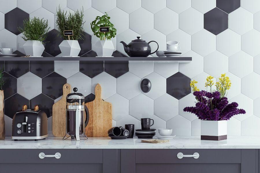 minimalist kitchen hexagon modern black white tiles