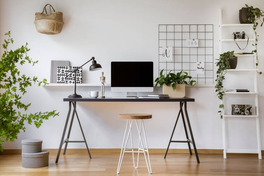 minimalist crafting room home office