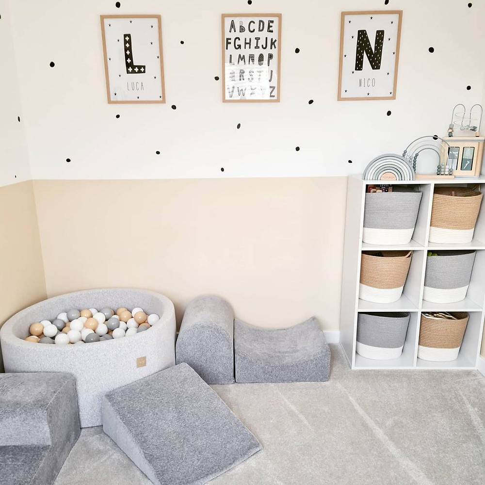 minimalist grey and beige playroom
