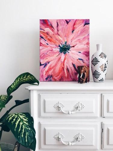 minimalist pink daisy flower art