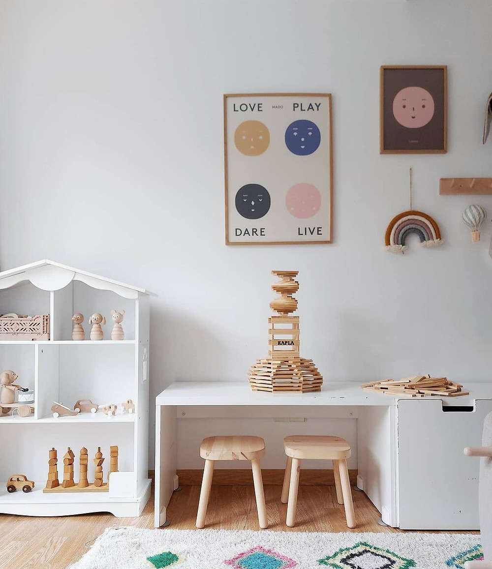 minimalist playroom craft desk