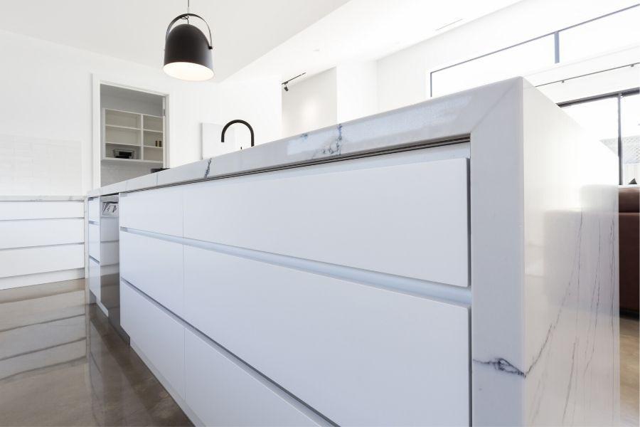 minimalist kitchen white marble countertop