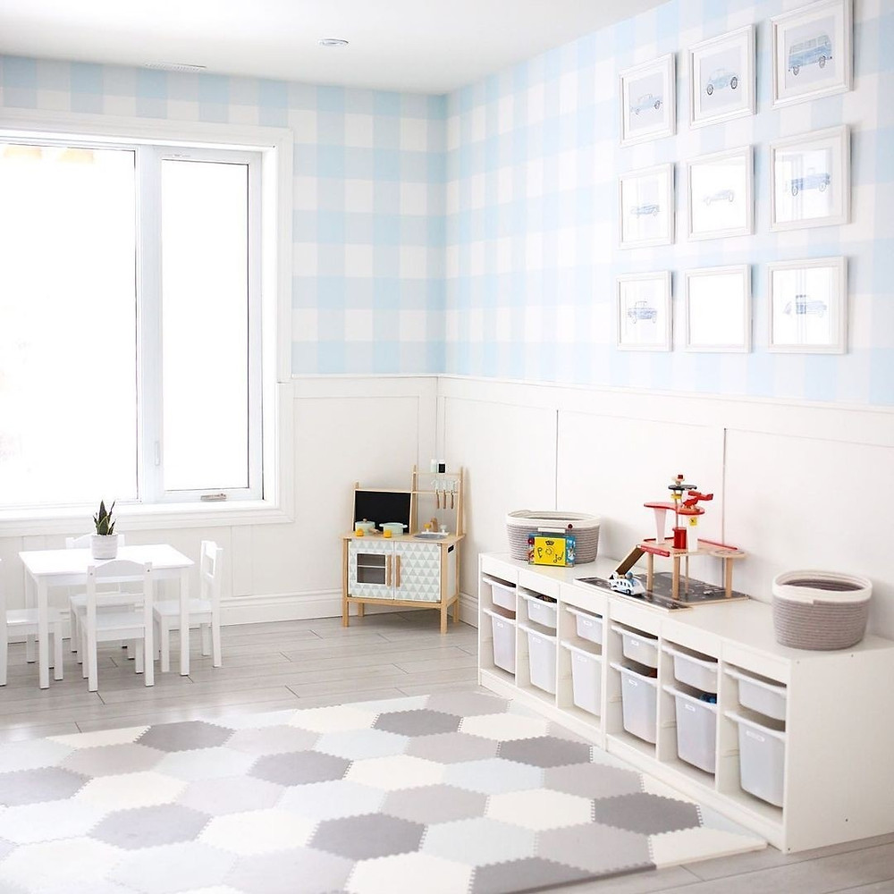 minimalist baby blue playroom