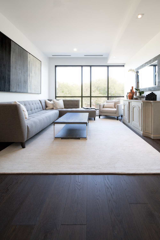 minimalist modern apartment grey sofa and cream area rug