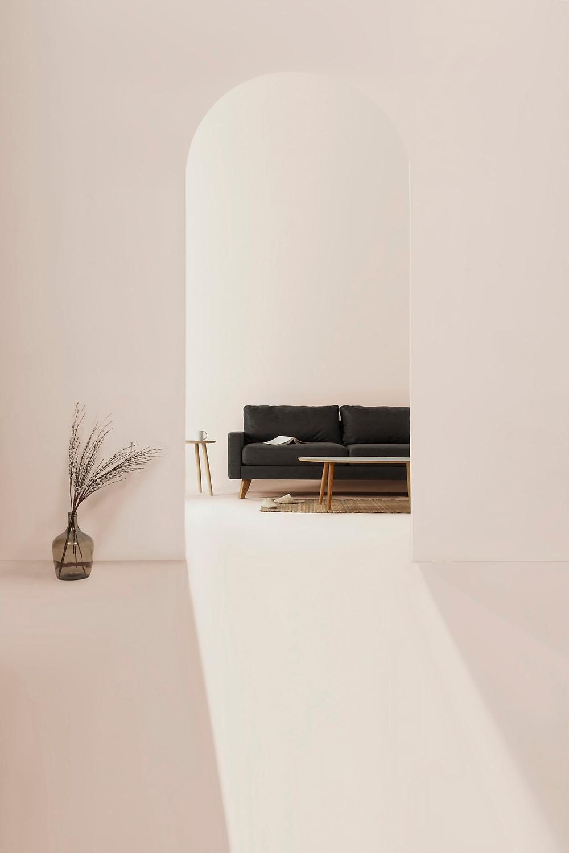 minimalist japandi white and black living room