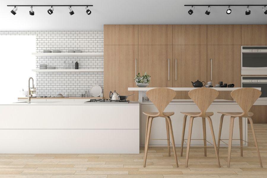 minimalist scandinavian kitchen natural wood white