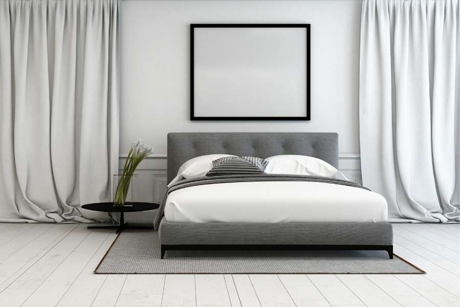 minimalist elegant grey bedroom