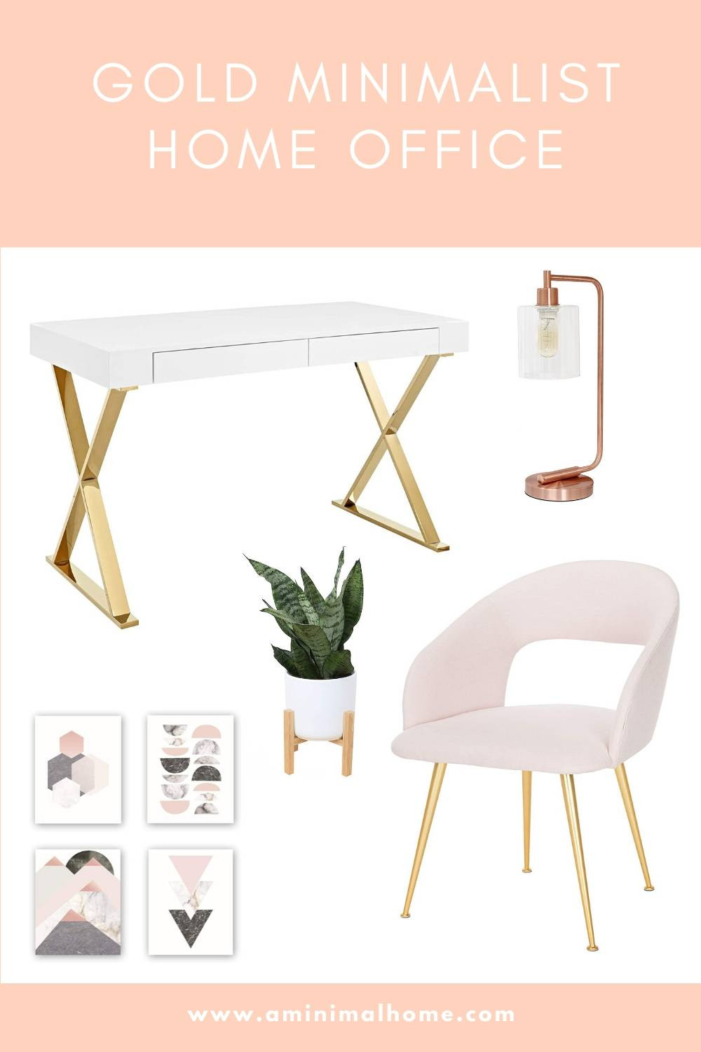 gold and pink minimalist home office