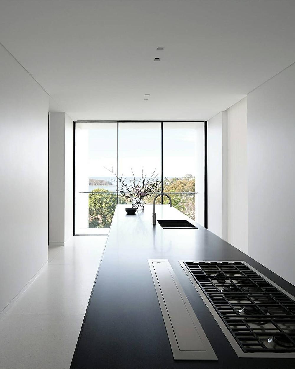 black modern minimalist kitchen