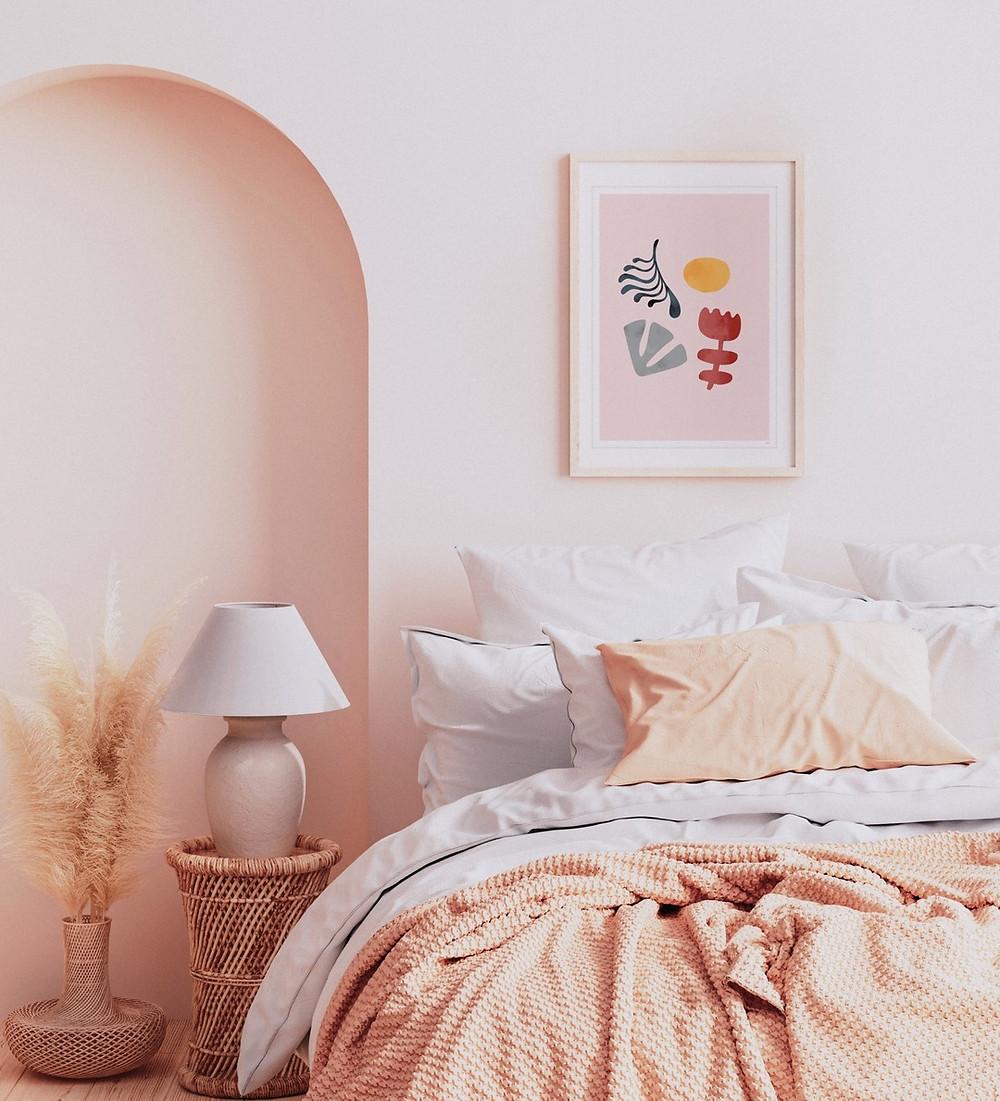 bohemian minimalist bedroom pink