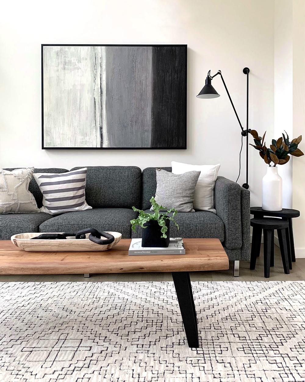 minimalist living room grey and black geometric area rug