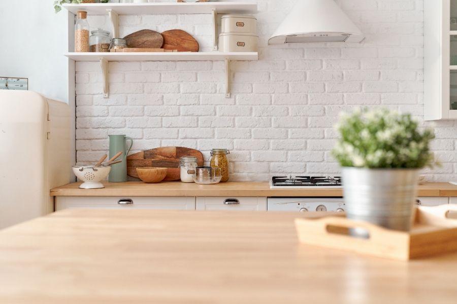 minimalist kitchen barn style white bricks