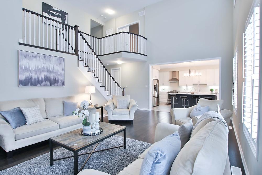 modern minimalist living room and kitchen