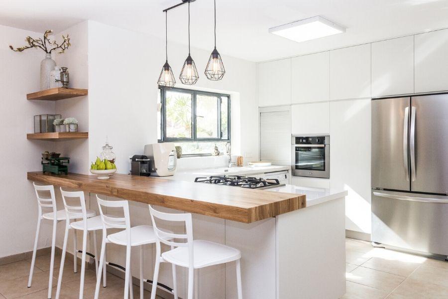 minimalist kitchen white wood table