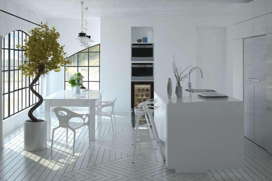 minimalist kitchen artistic tree and furniture