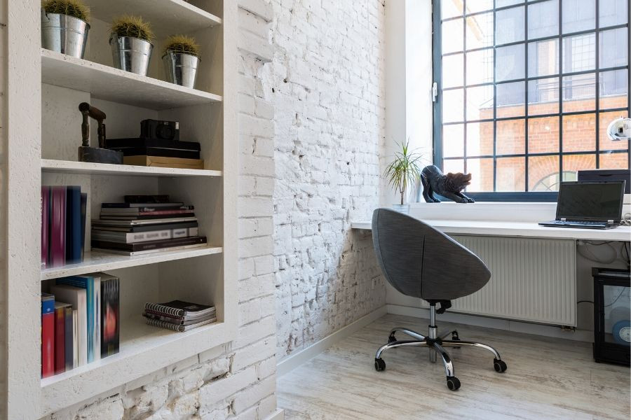 minimalist industrial loft home office