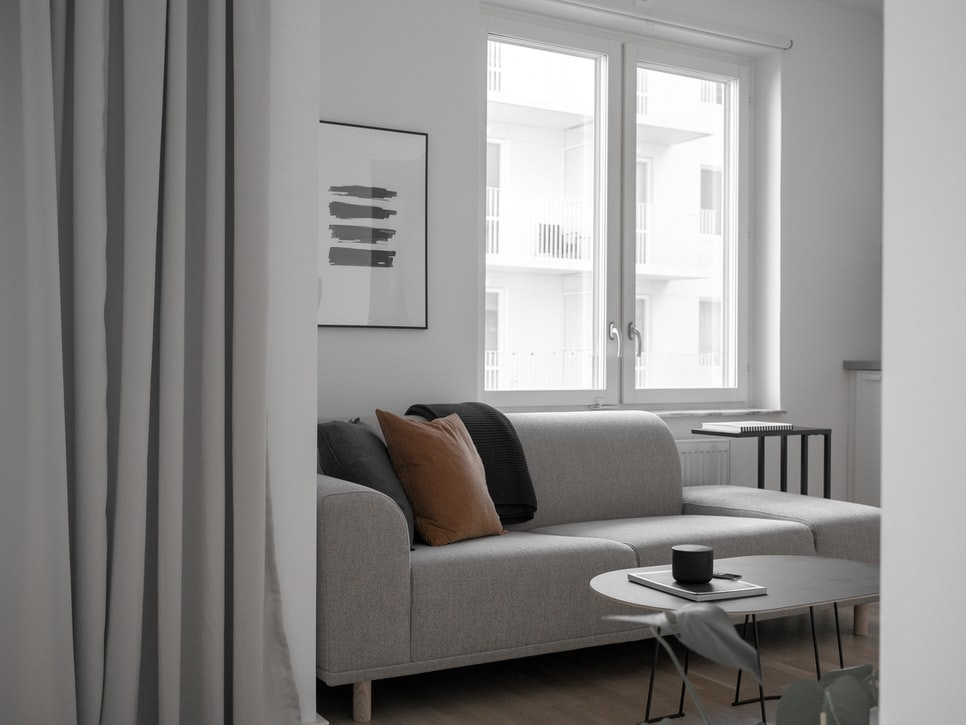 minimalist apartment in grey and white
