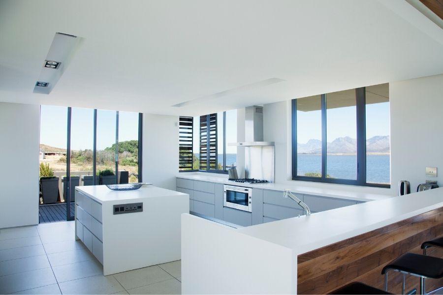 minimalist kitchen seaside view