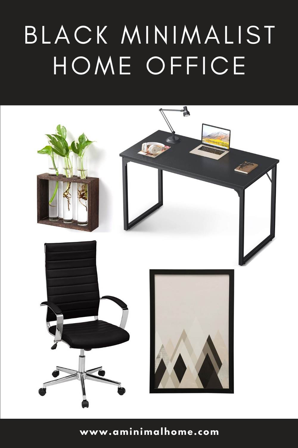 black minimalist home office