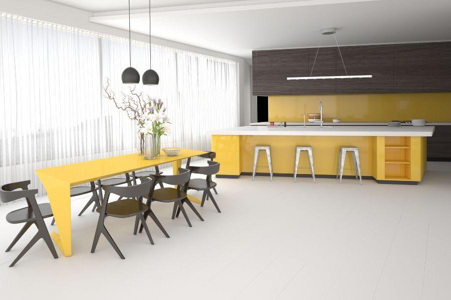 minimalist kitchen yellow brown wood