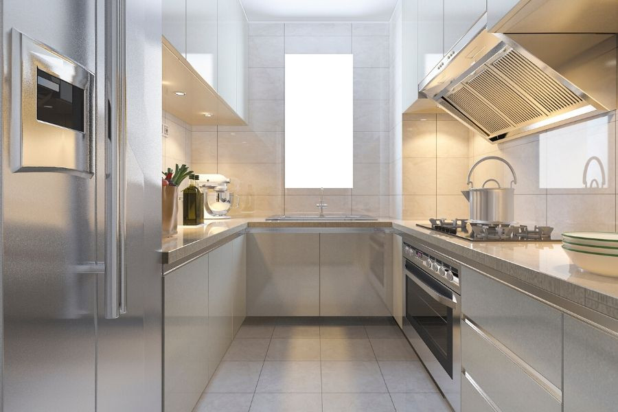 minimalist kitchen narrow white and silver kitchen