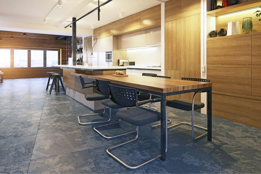 minimalist kitchen for bachelors concrete floor