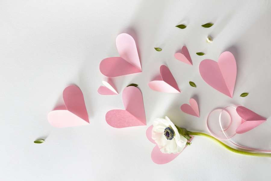 minimalist paper hearts and flower