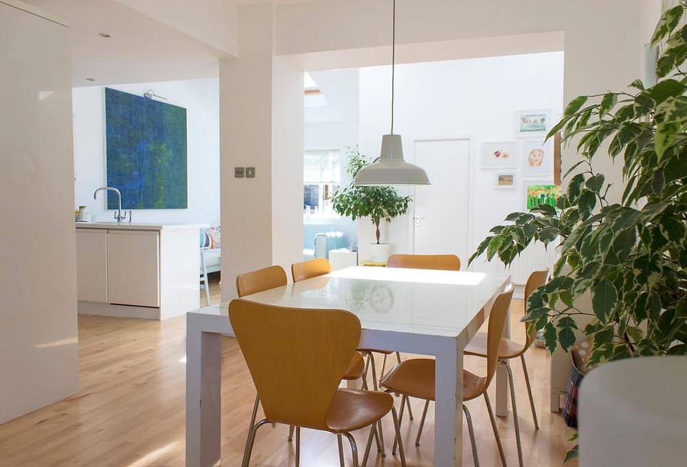 minimalist dining room with live plants decoration