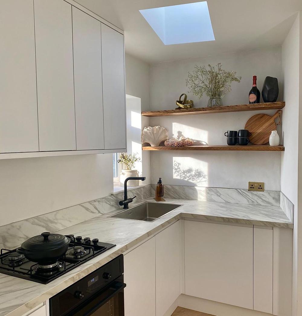 minimalist kitchen with shelves