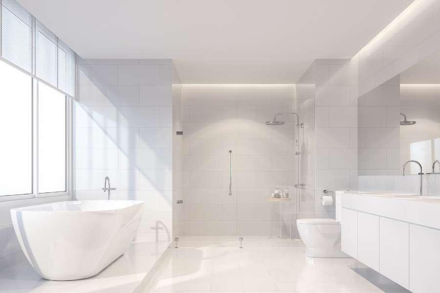 white clean minimalist bathroom