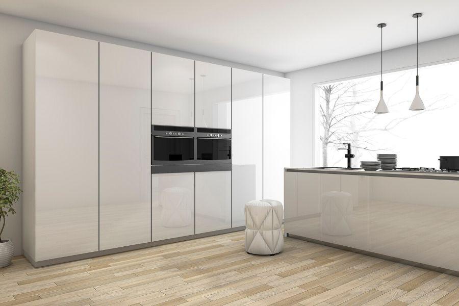 minimalist kitchen futuristic white finish