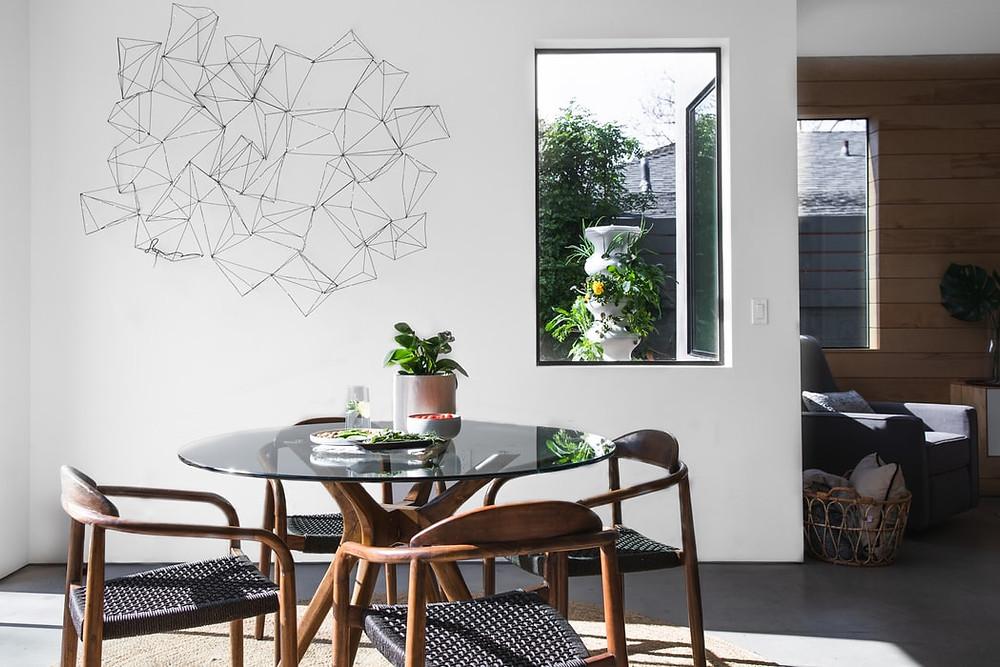 minimalistic black and white geometric wall art