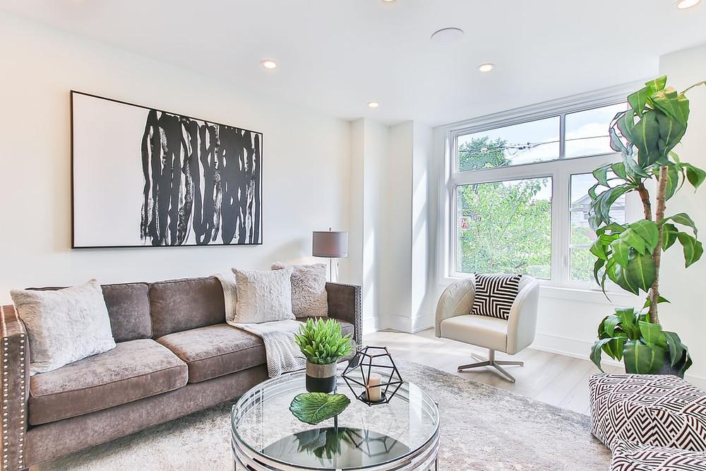 minimalist modern grey black and white living room