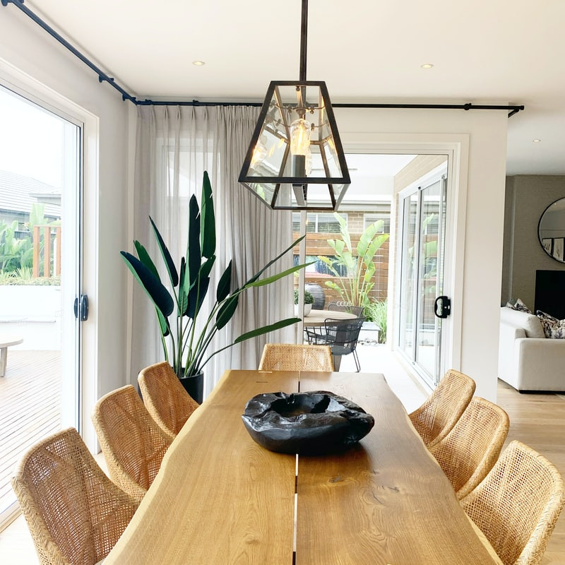 minimalist scandi living room wooden table and chairs
