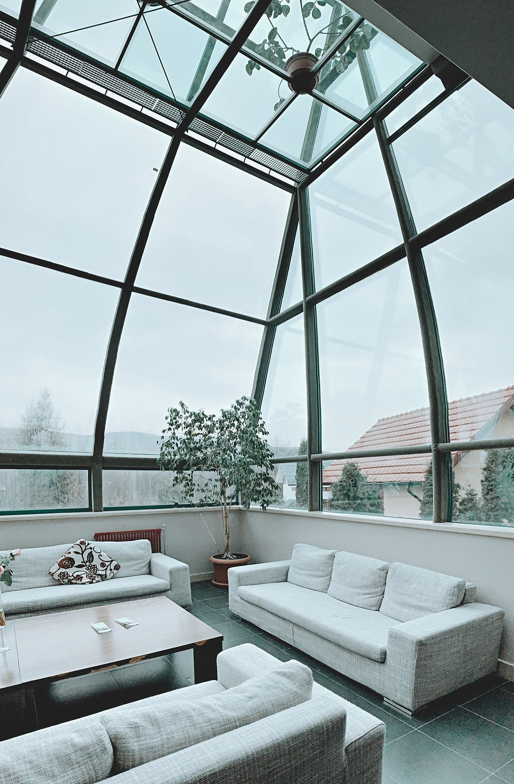 large glass ceiling living room