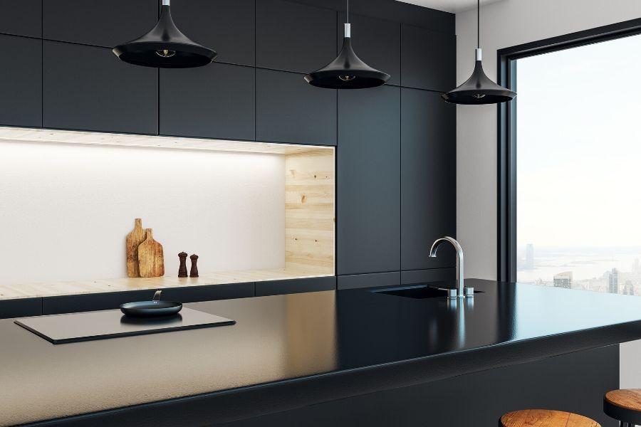 minimalist kitchen elegant black shiny countertop