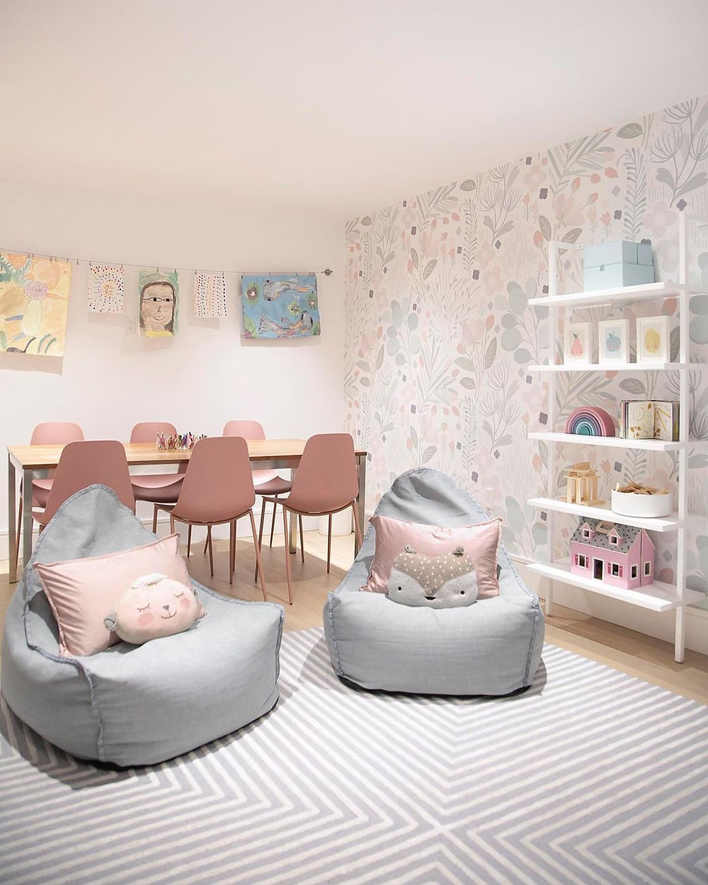minimalist pink playroom