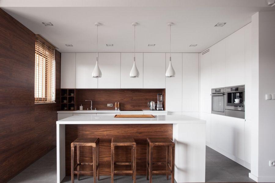 minimalist kitchen white cabinets and wood walls
