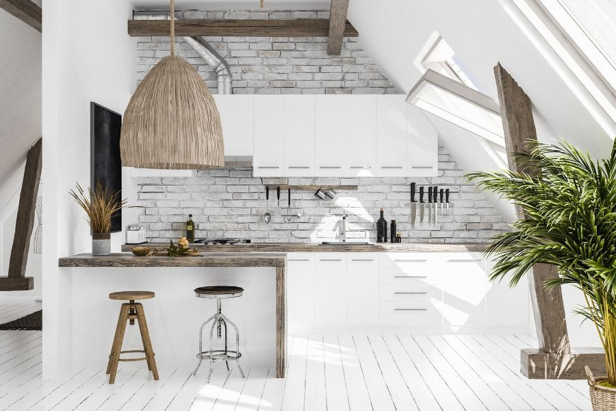 minimalist kitchen with rustic wicker lamp beach